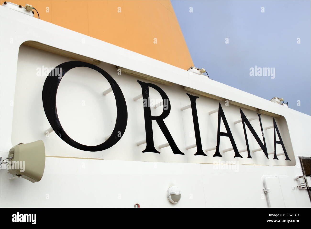 Sign below funnel, P&O Cruises Oriana, Norway 2014 - Stock Image