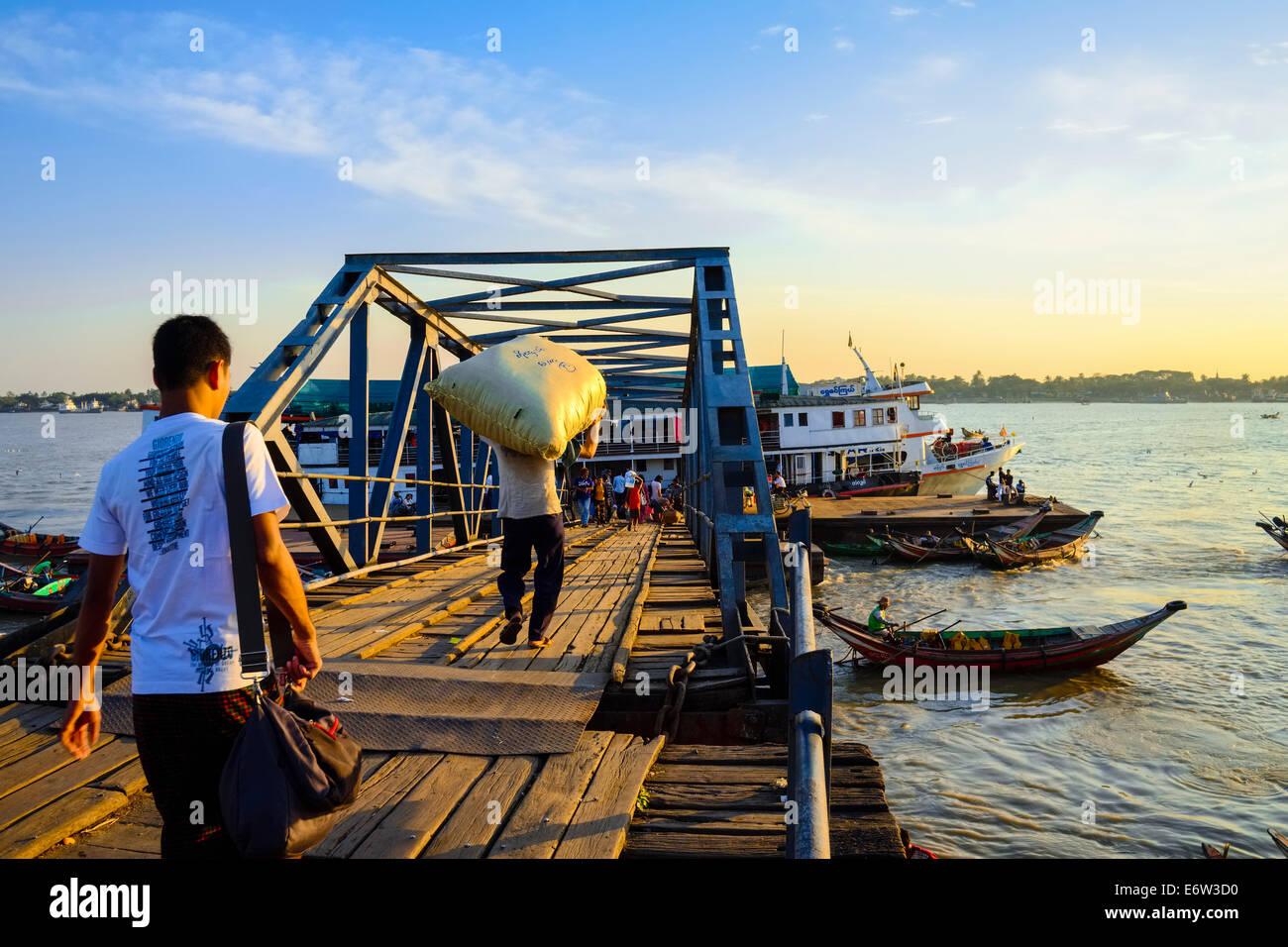 At the jetty, Yangon, Myanmar, Asia Stock Photo