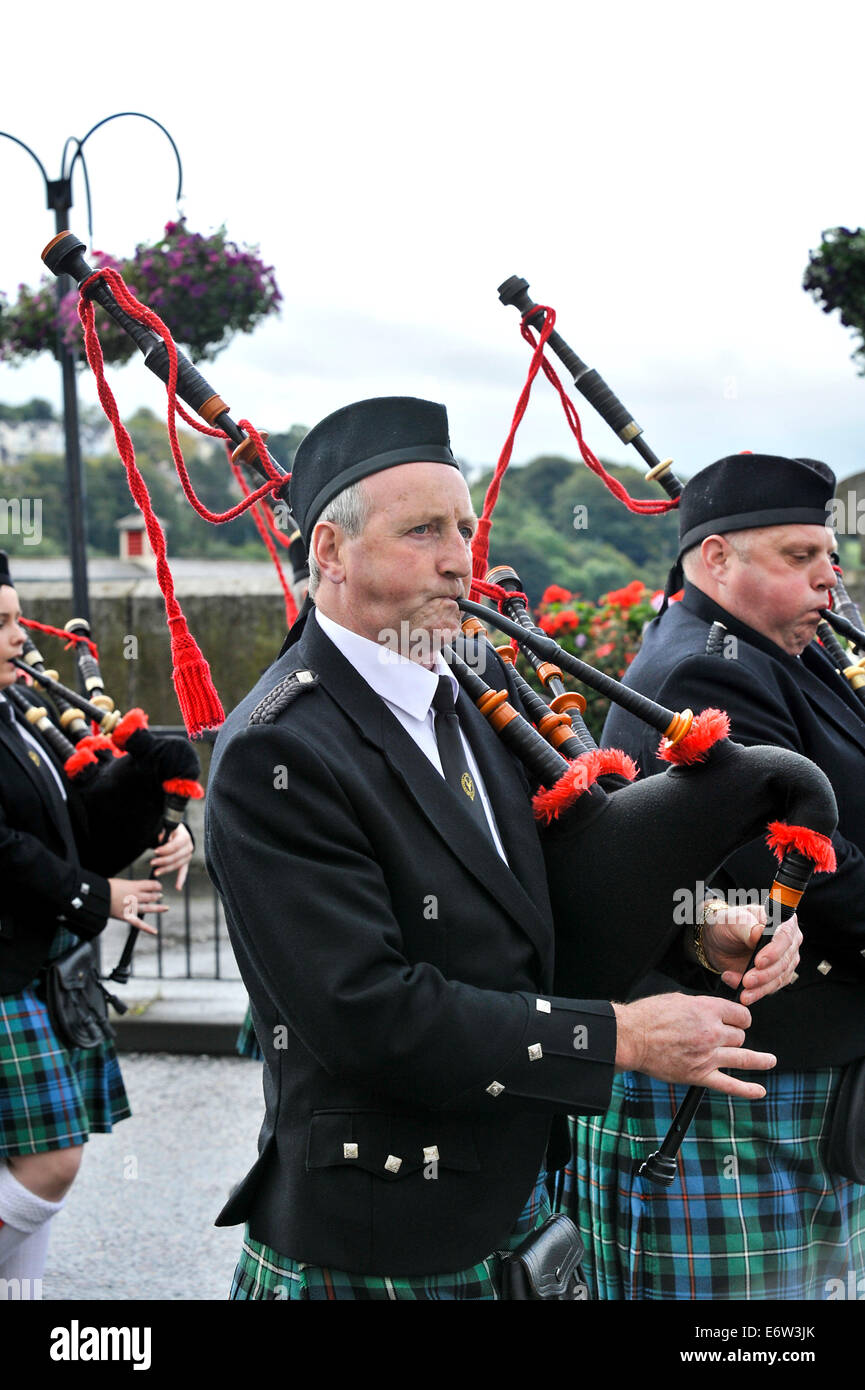 Band member playing the bagpipes at Royal Black Institution parade, Derry, Londonderry, Northern Ireland, UK, Europe - Stock Image