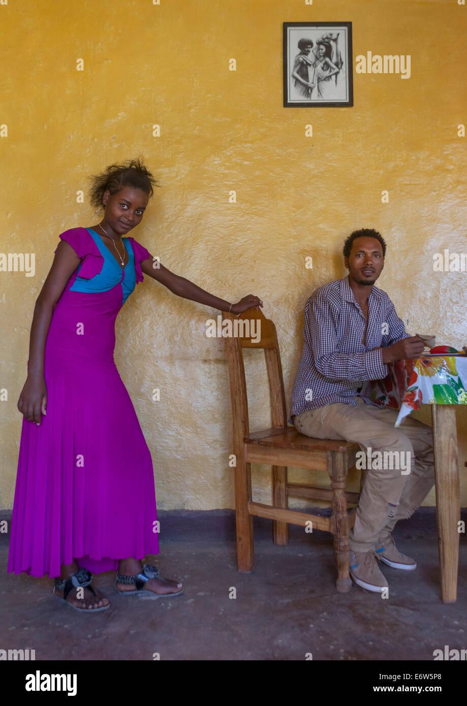 couple In A Restaurant, Daolo Ethny, Tepi, Ethiopia - Stock Image