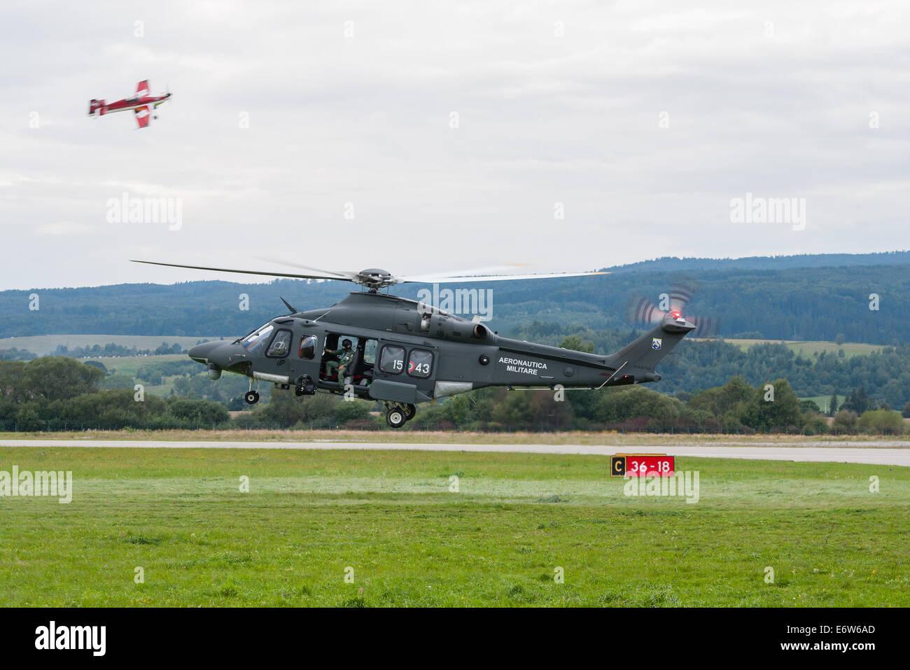SLIAC, SLOVAKIA - AUGUST 30: Show of A-109 Agusta of Belgian Air Force during SIAF airshow in Sliac, Slovakia on - Stock Image