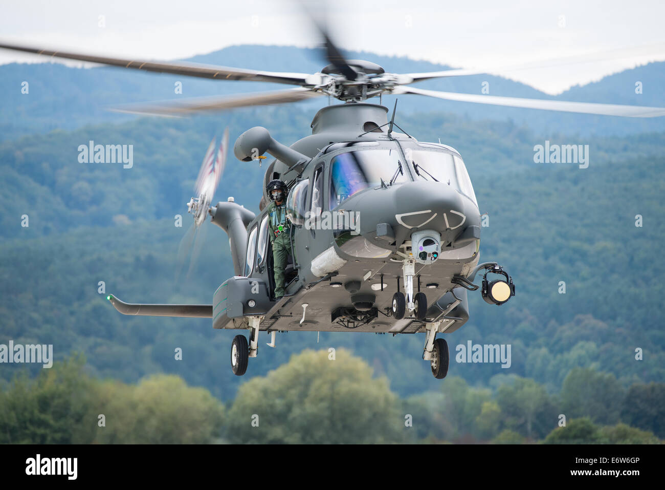 SLIAC, SLOVAKIA - AUGUST 30: Dynamic display of A-109 Agusta of Belgian Air Force during SIAF airshow in Sliac, - Stock Image