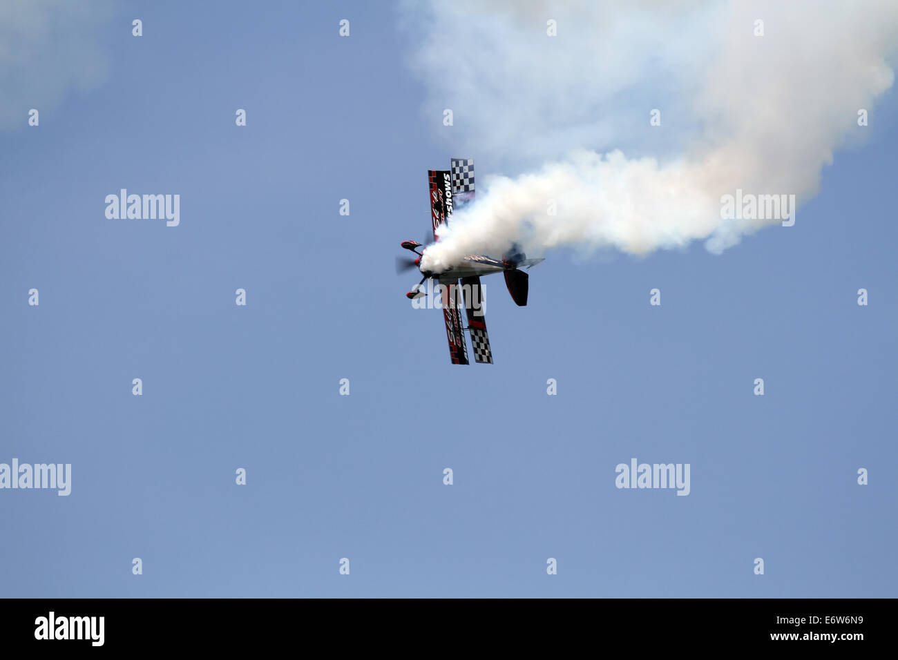 CLEVELAND, OHIO - August, 30: Skip Stewert's Aerobatic Bi-Plane, on August, 30 2014 at The Cleveland National - Stock Image