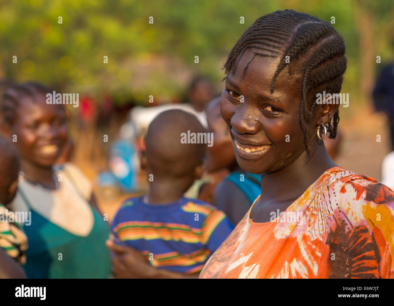 Majang Tribe Woman With Traditional Hairstyle, Kobown, Ethiopia - Stock Image
