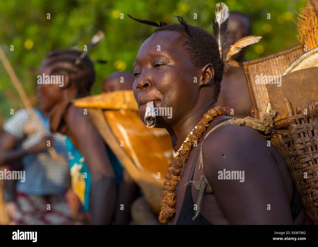 Majang Tribe Smoking For A Celebration, Kobown, Ethiopia - Stock Image