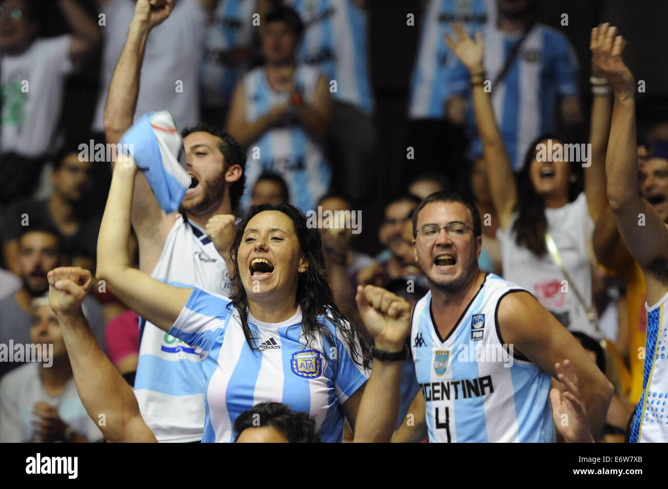 Seville, Spain. 31st Aug, 2014. Fans of Argentina react during the Group B match between Argentina and Croatia at - Stock Image