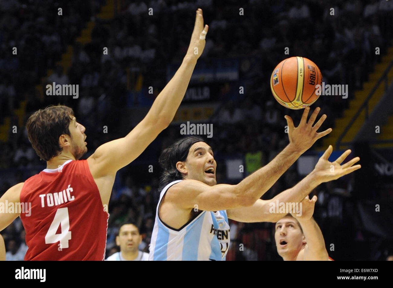Seville, Spain. 31st Aug, 2014. Luis Scola (C) of Argentina competes during the Group B match against Croatia at - Stock Image
