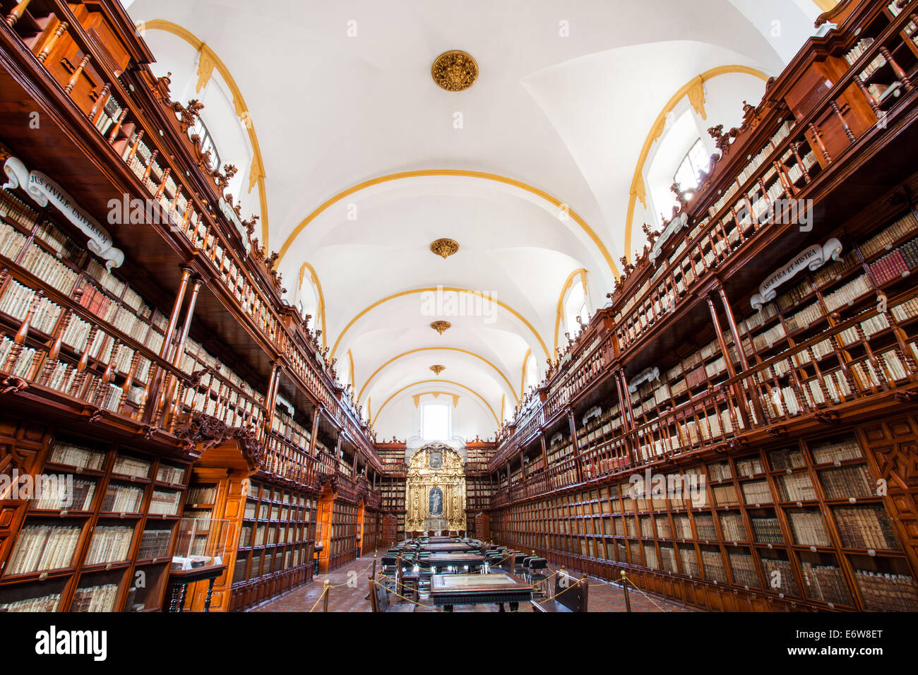The historic Palafox Library in Puebla, Mexico. - Stock Image
