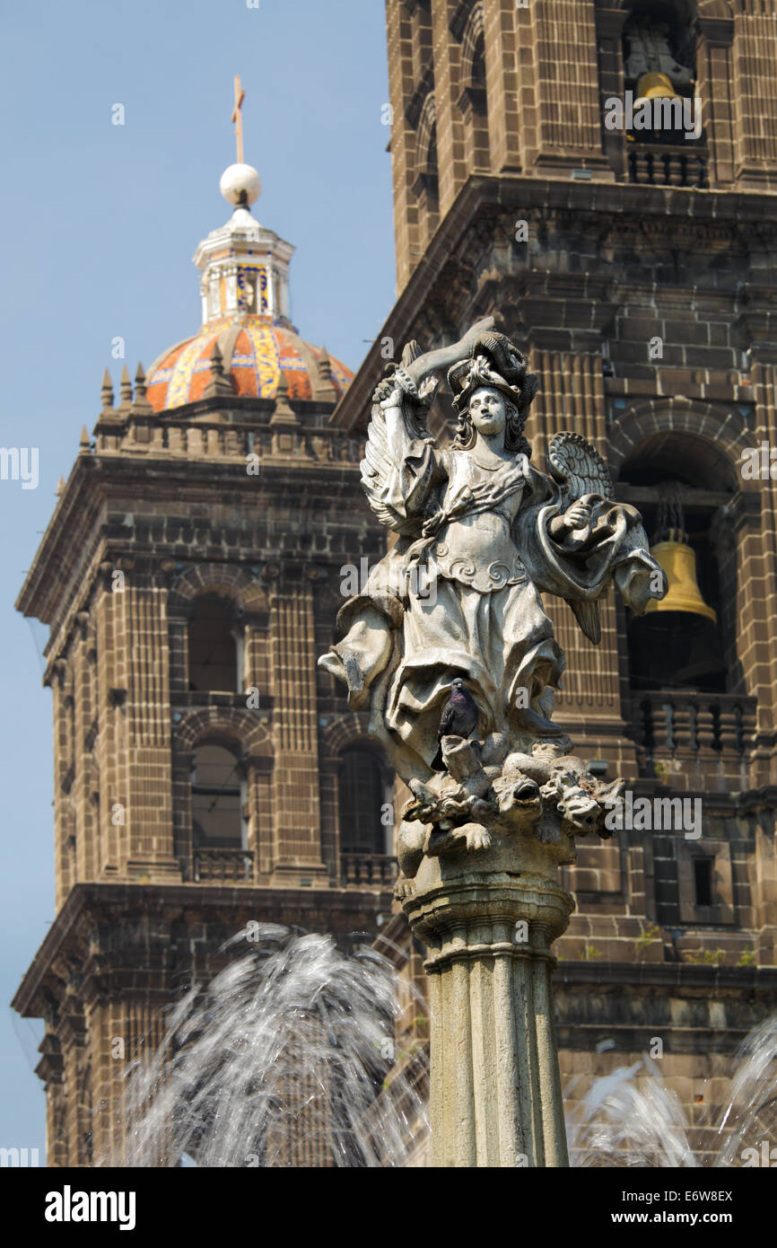 San Miguel Statue in front of the Cathedral, Puebla, Mexico. - Stock Image
