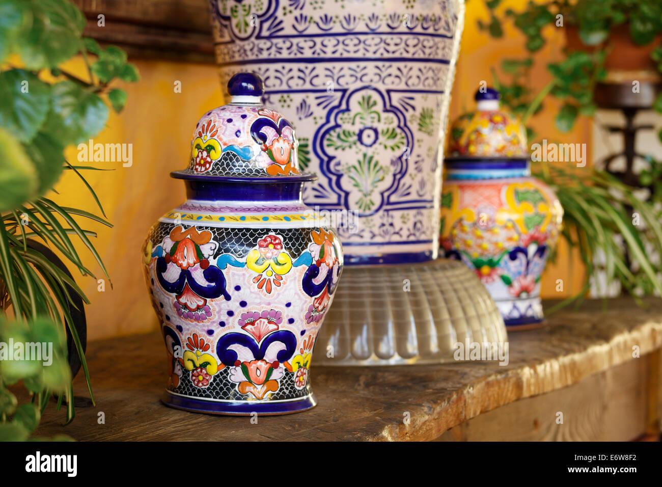 Talavera Pots in Puebla, Mexico. - Stock Image