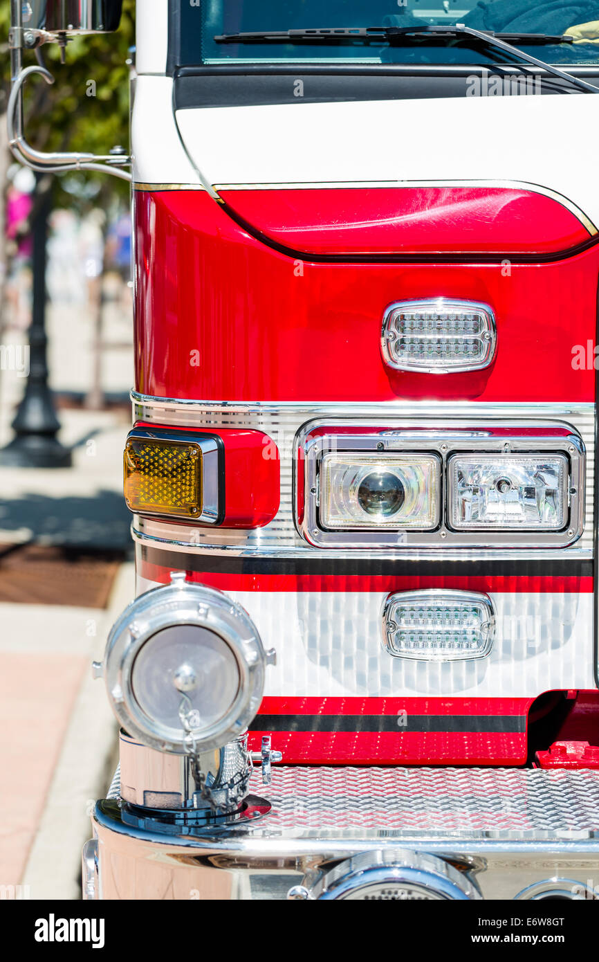 Fire truck parked in urban area. - Stock Image