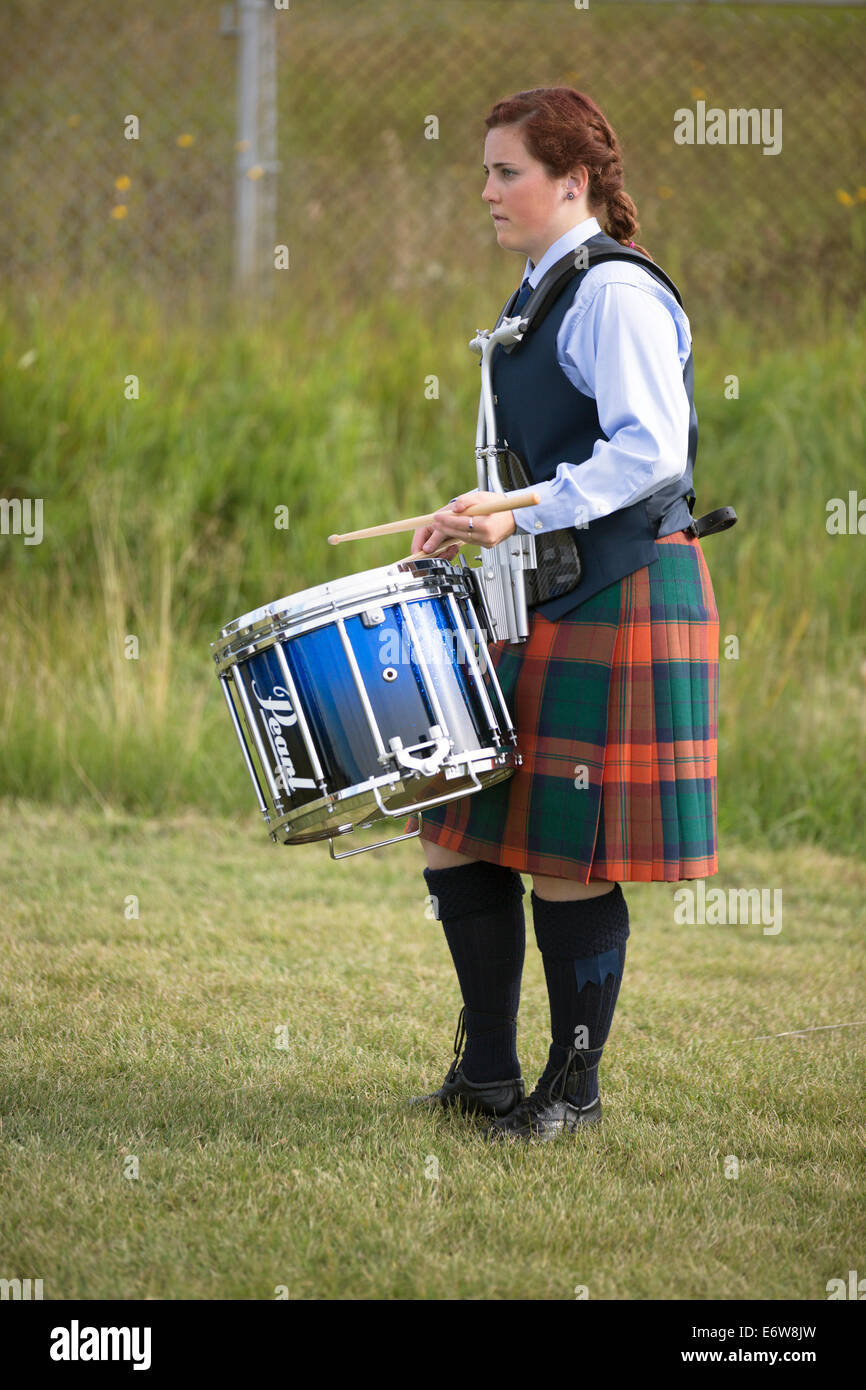 Calgary, Alberta, Canada. 30th Aug, 2014. Drummer warms up for performance at the Calgary Highland Games, Calgary, - Stock Image