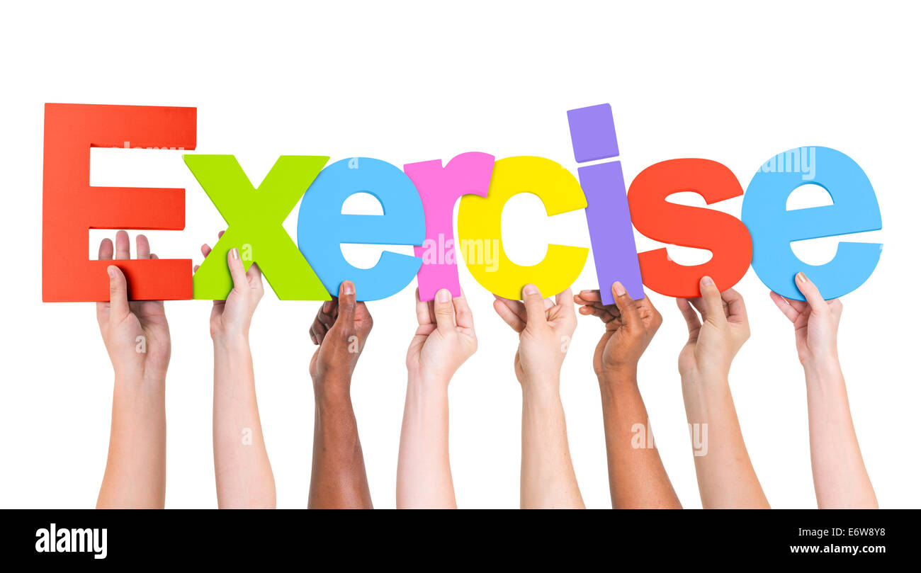 Diverse Hands Holding The Word Exercise Stock Photo Alamy