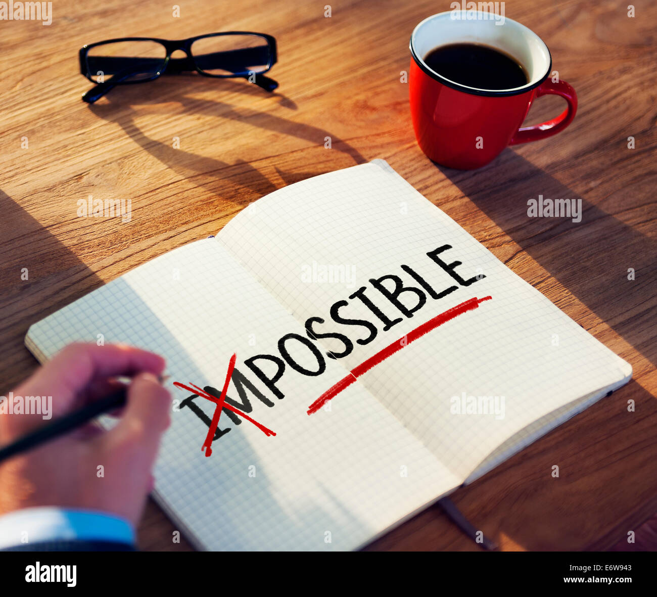 Man with Note Pad and Possibility Concepts - Stock Image