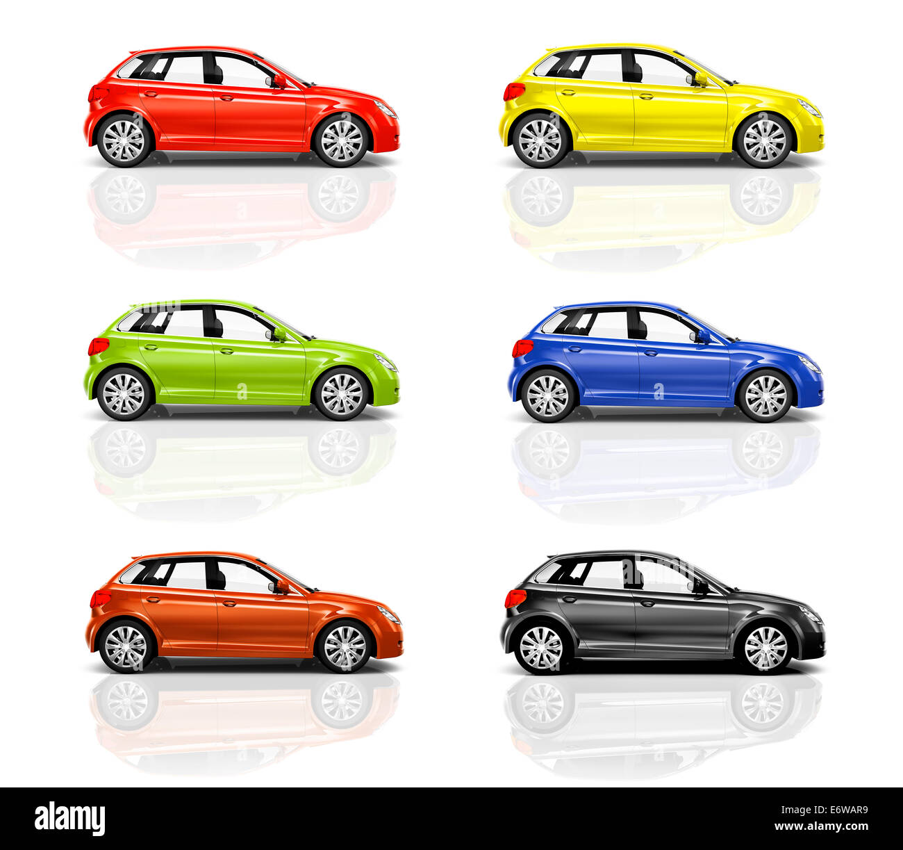 Collection of 3D Hatchback Cars - Stock Image