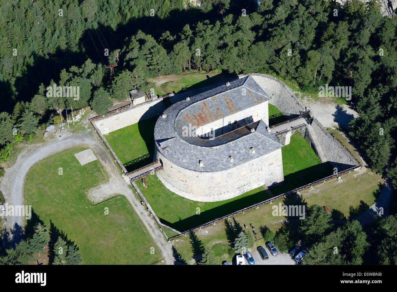 REDOUTE MARIE THERESE (aerial view). Part of the Esseillon Forts, in Avrieux, Savoie, Rhône-Alpes, France. - Stock Image