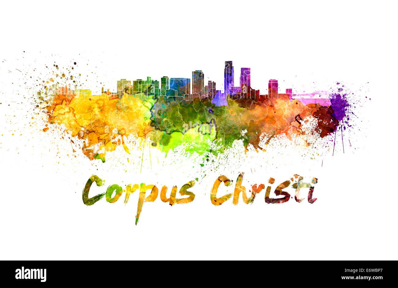 Corpus Christi skyline in watercolor - Stock Image