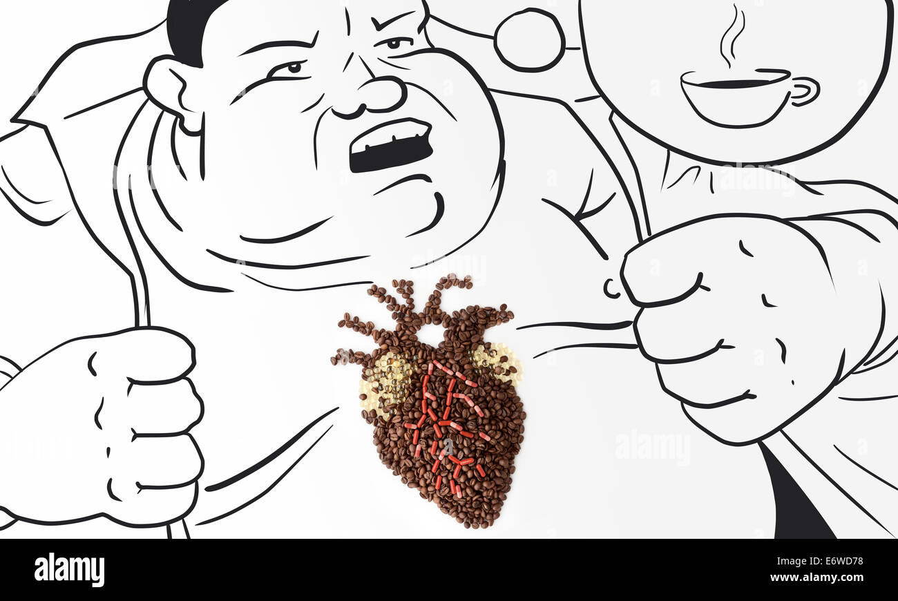 An obese man with his heart made of drugs and coffee beans who Stock ...