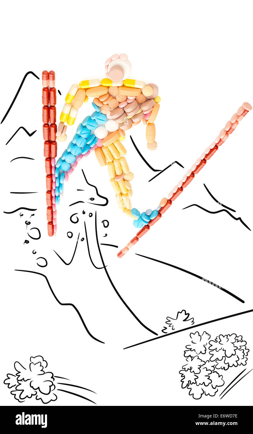 Doping pills in the shape of a professional skier in jump from a mountain. - Stock Image