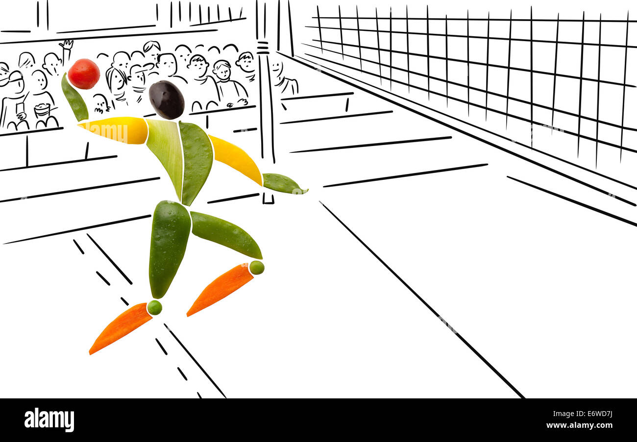 Fruits and vegetables in the shape of a volleyball player making a jump serve over the net. - Stock Image