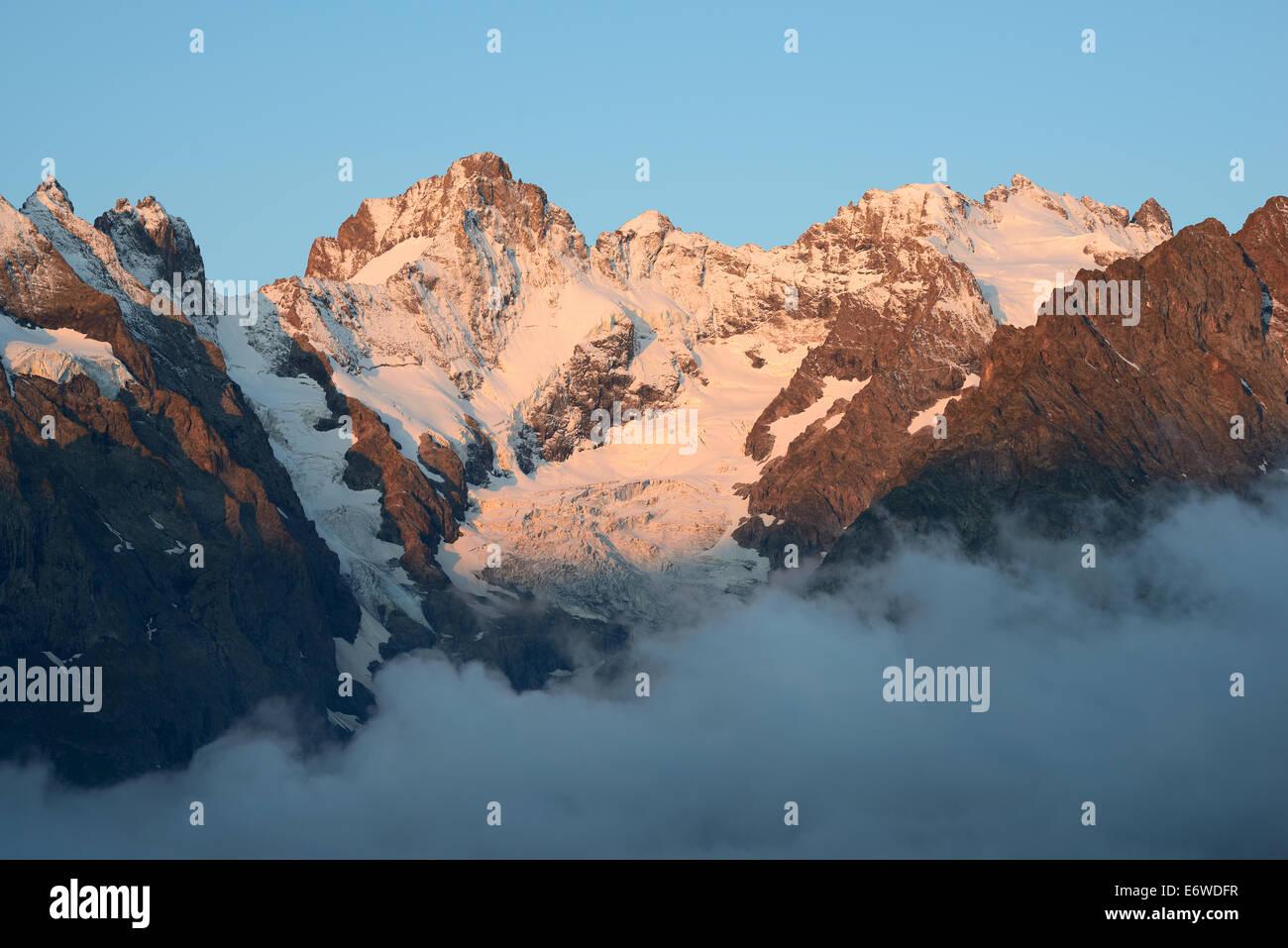 PIC GASPARD (left - 3883m amsl) & LA MEIJE (right - 3984m amsl). Ecrins National Park, Hautes-Alpes, France. - Stock Image