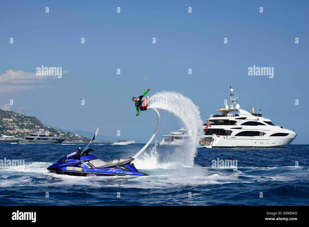 FLYBOARDING. Beaulieu-sur-Mer, Alpes-Maritimes, French Riviera, France. - Stock Image