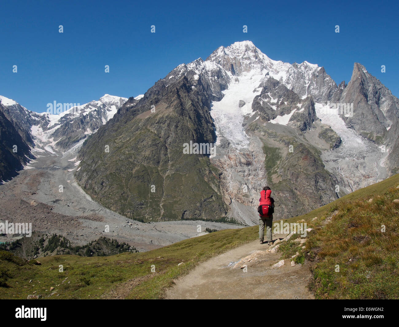 Tour of Mont Blanc, Val Veny, Italian Alps with Mont Blanc behind - Stock Image