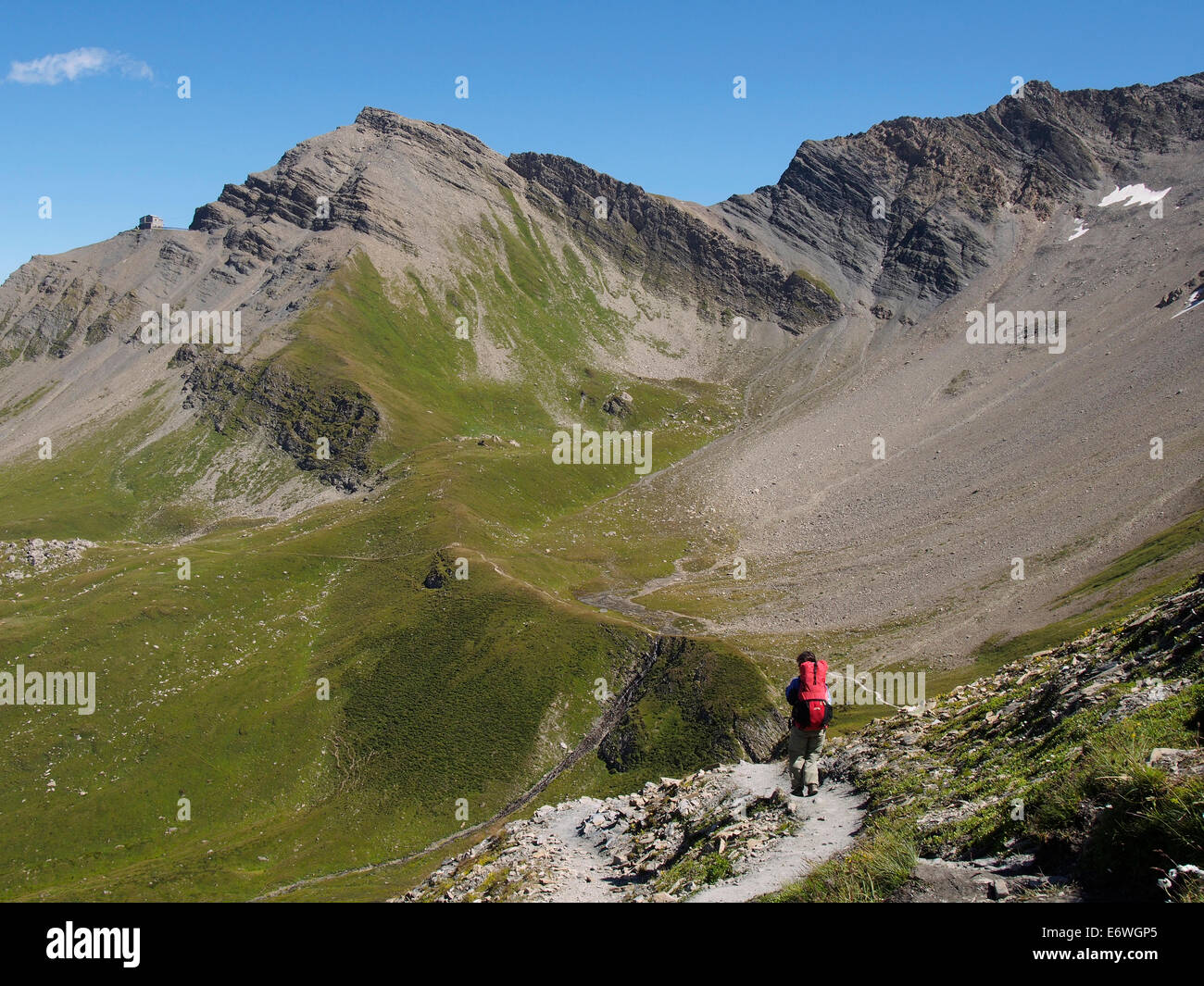 Tour of Mont Blanc, Val Veny, Italian Alps, near Alpe superieur d'Arpe vieille - Stock Image