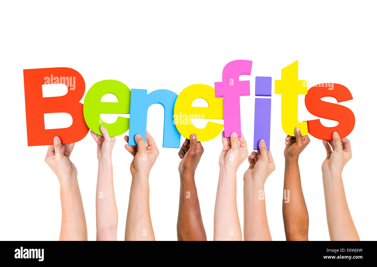 Multiethnic People Holding The Word Benefits - Stock Image