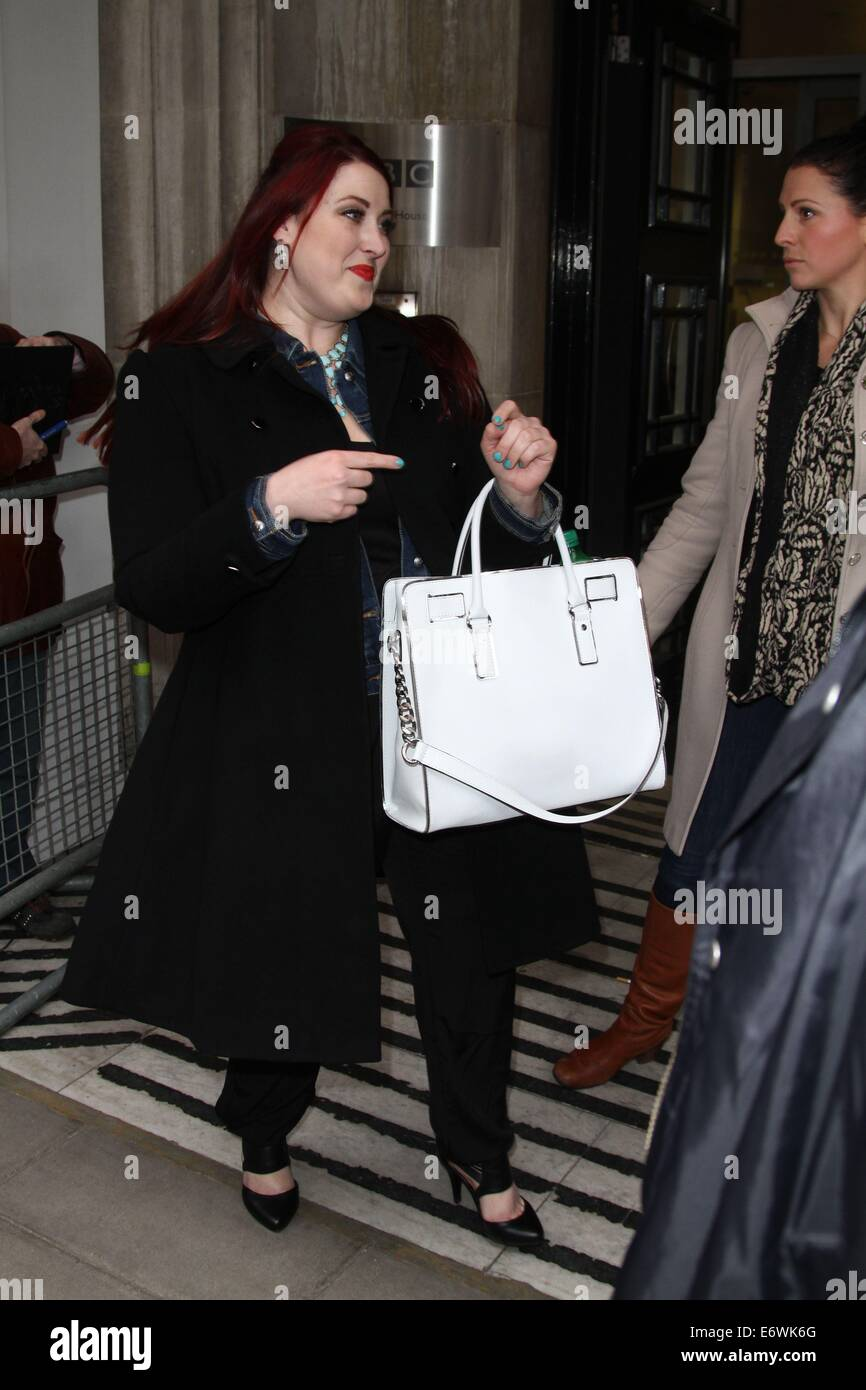 American Idol Jessica Clemmons leaving Radio 2 after promoting her new single, Single Tonight  Featuring: Jessica - Stock Image
