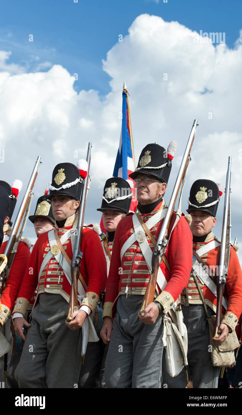 44th East Essex Regiment of foot. Infantry regiment of the British Army at a historical re-enactment. Detling, Kent, - Stock Image