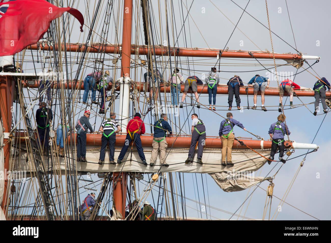 Tall Ships; Rigging; Falmouth; Cornwall; UK; 2014 - Stock Image