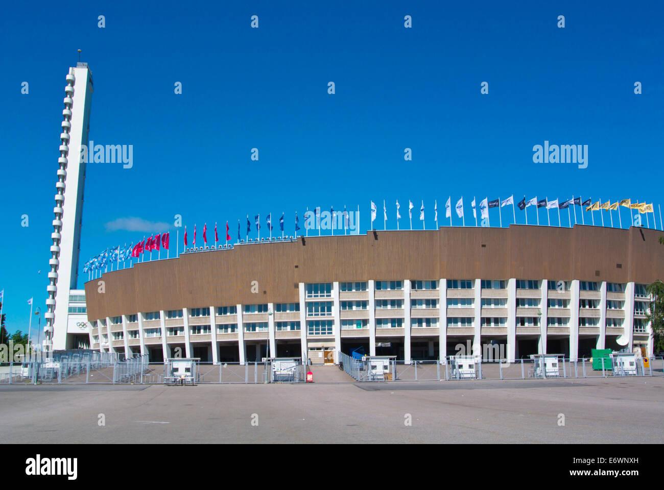 Olympiastadion, the Olympic Stadium (1952), by Yrjö Lindegren, Taka-Töölö district, central - Stock Image