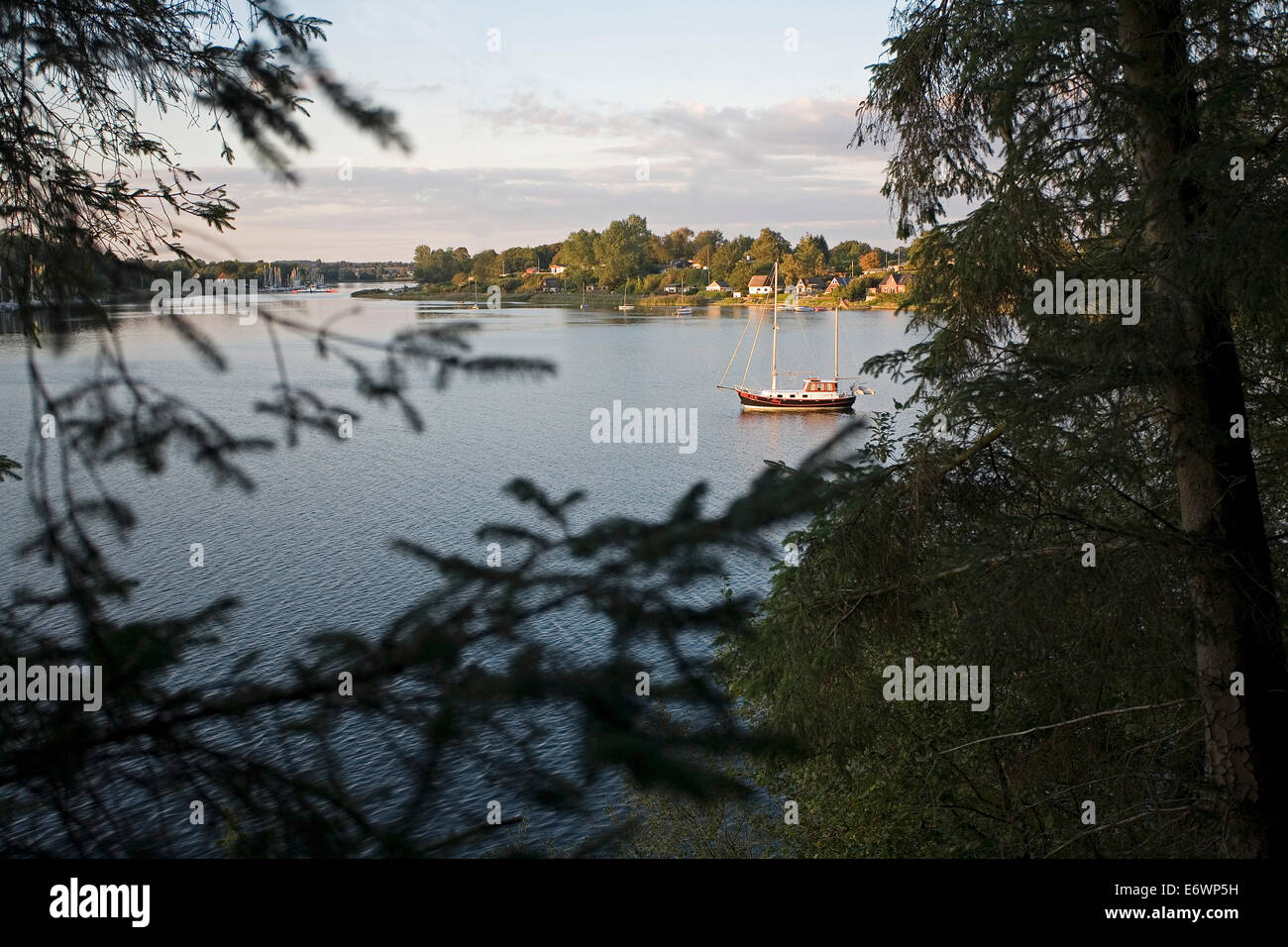 View from the southbank of the Schlei onto the village of Missunde, Schlei, Schleswig-Holstein, Germany, Europe - Stock Image