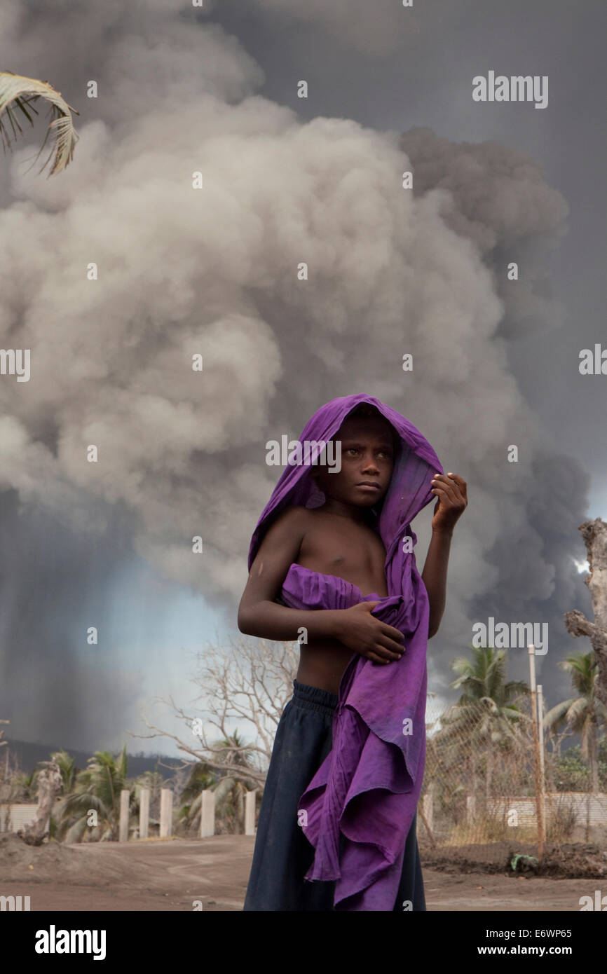 Especially the children suffer from the constant ash fall, Tavurvur Volcano, Rabaul, East New Britain, Papua New - Stock Image