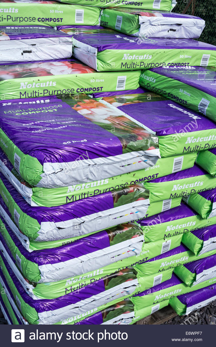 Multi-purpose compost bags on sale at Notcutts garden centre - Stock Image