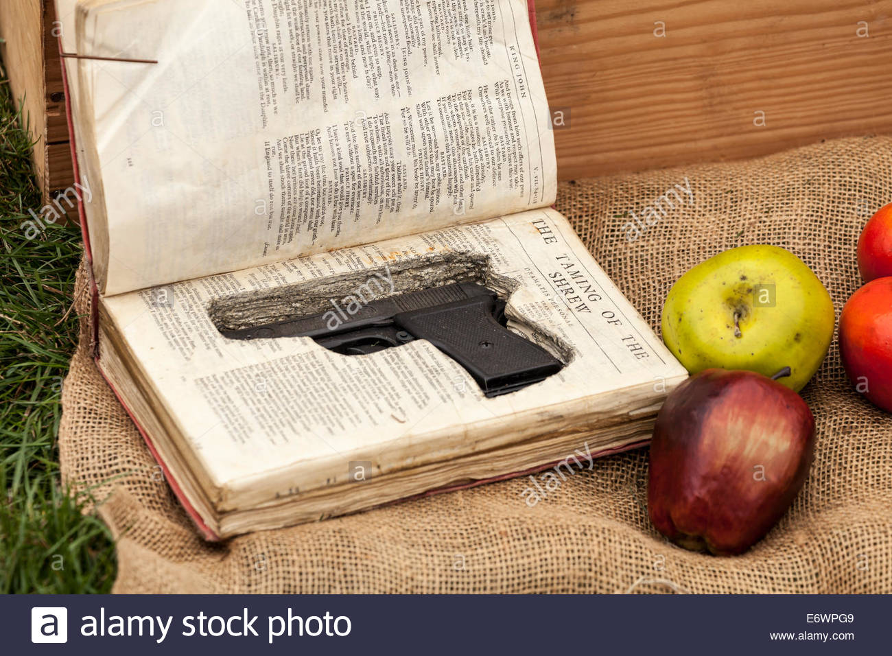Concealed gun.  Display of spies and espionage at a 1940's event. - Stock Image