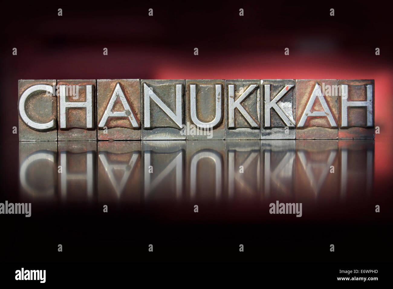 The word Chanukkah written in vintage letterpress type - Stock Image
