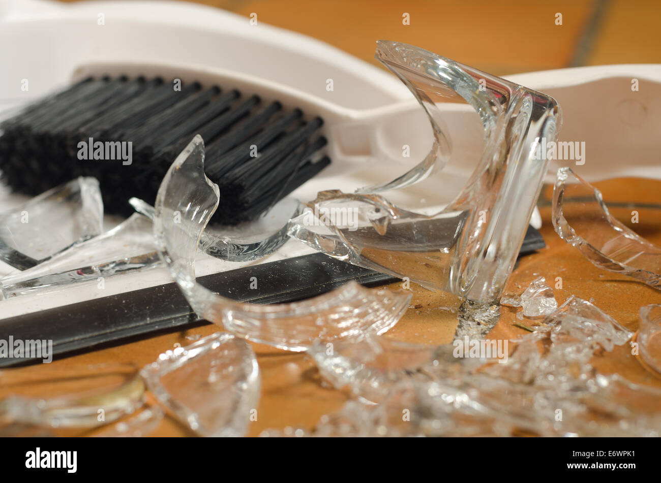 Remnants Pile Of Broken Glass On Floor After Accident And