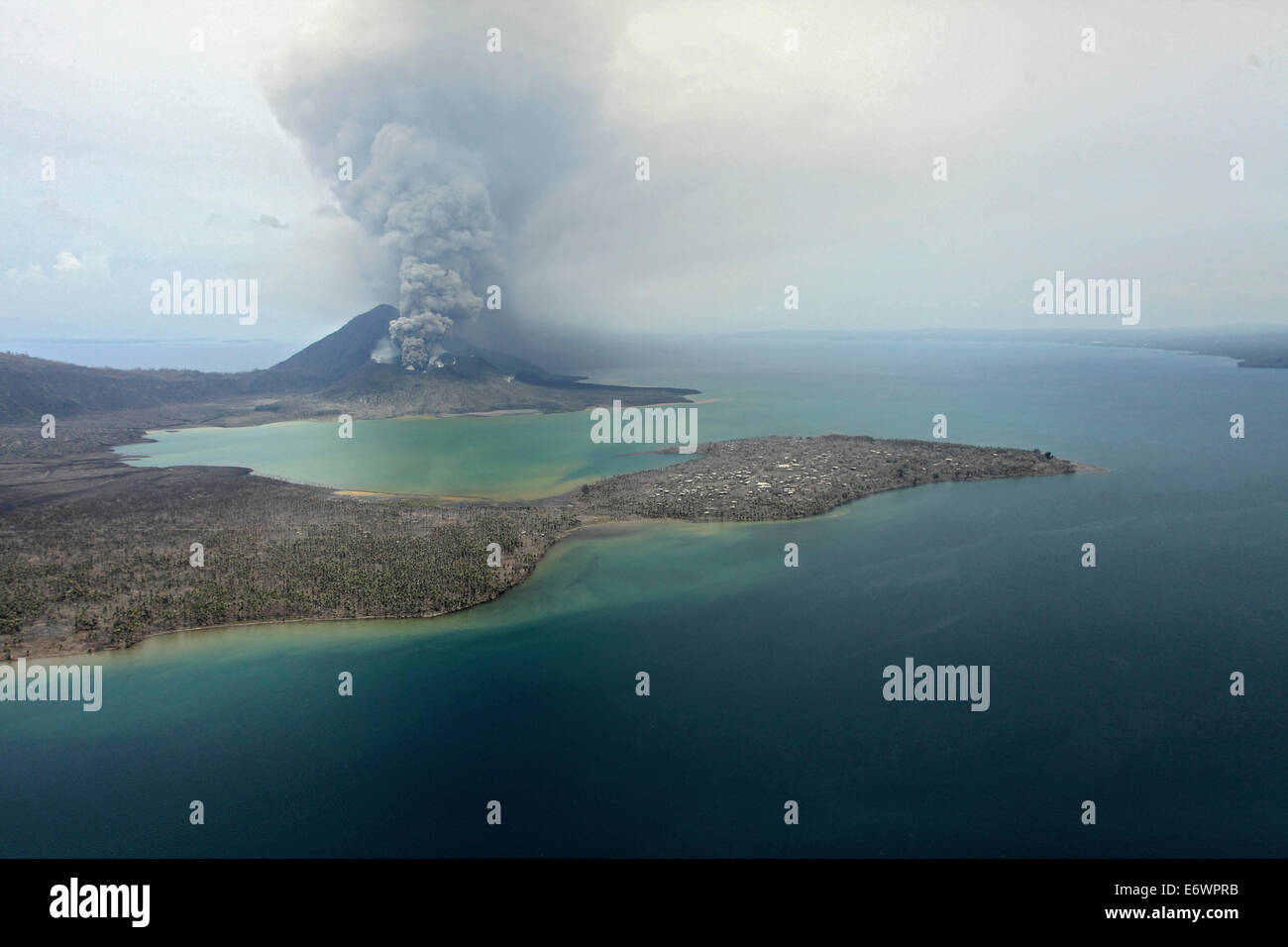 Tavurvur volcano and surroundings. Tavurvur Volcano, Rabaul, East New Britain, Papua New Guinea, Pacific - Stock Image