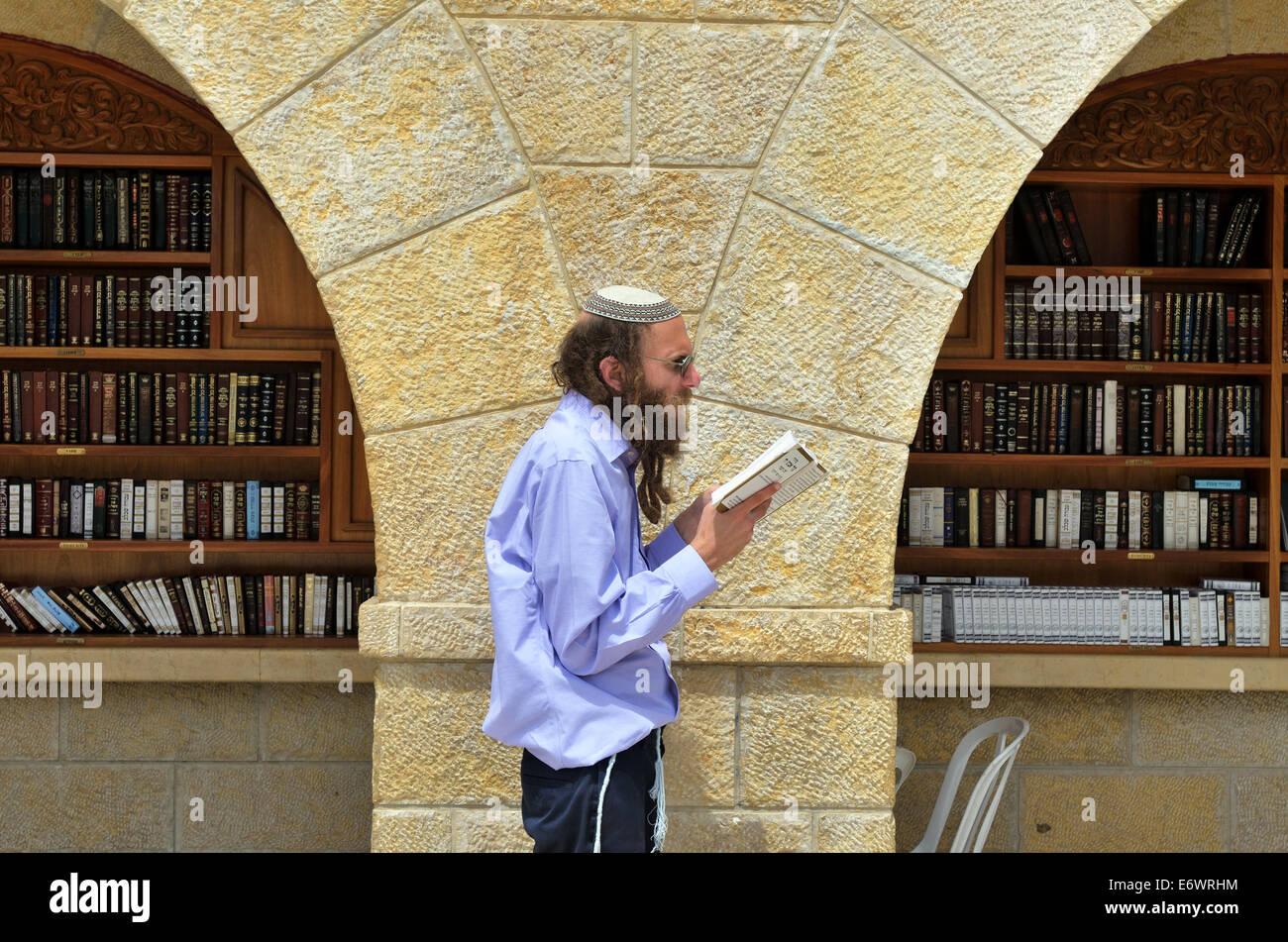Jew reads Torah near the Torah ark at the Wailing Wall, Jerusalem, Israel - Stock Image