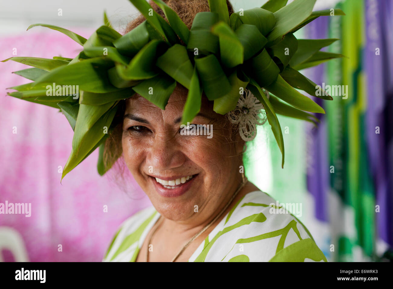 Woman wearing a headdress at the Pasifika Festival in Auckland, North Island, New Zealand - Stock Image
