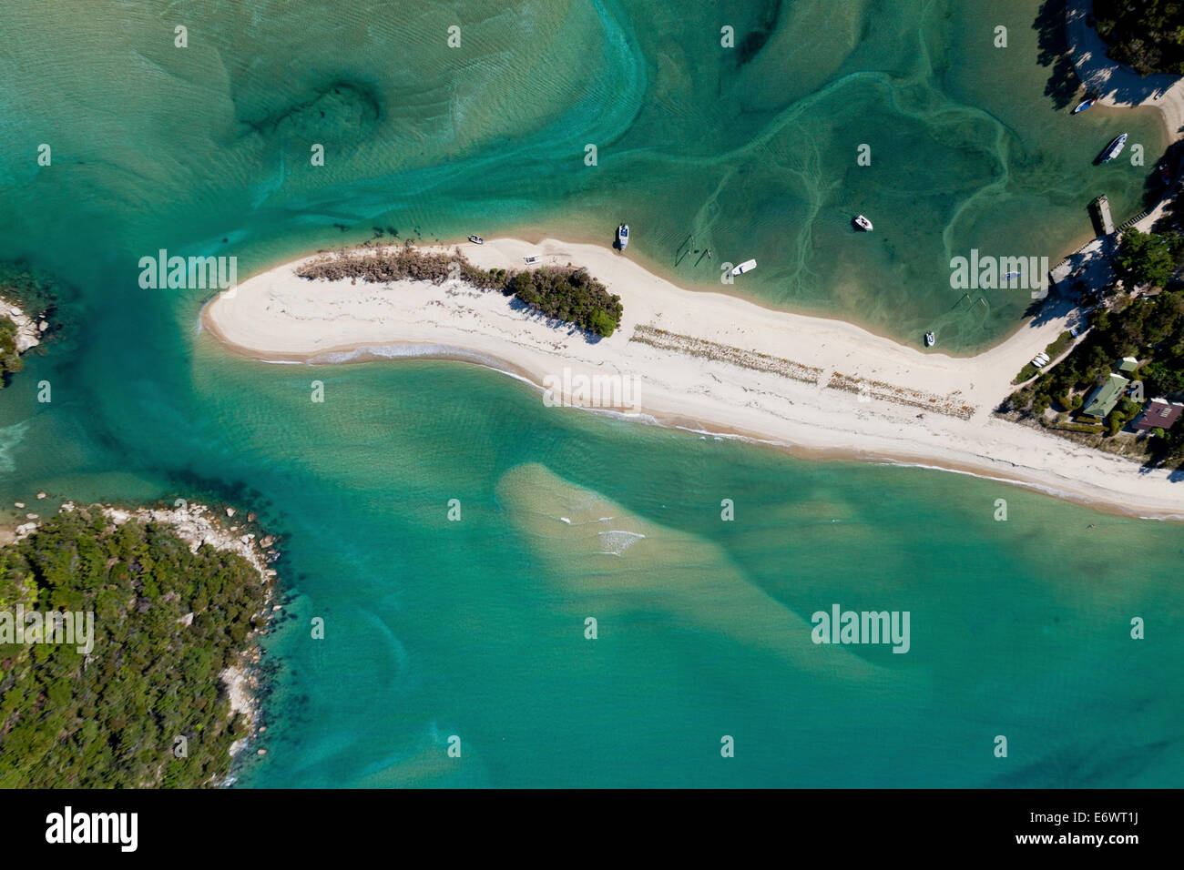 Aerial view of the Awaroa Inlet with turquoise coloured sea, Abel Tasman National Park, South Island, New Zealand - Stock Image