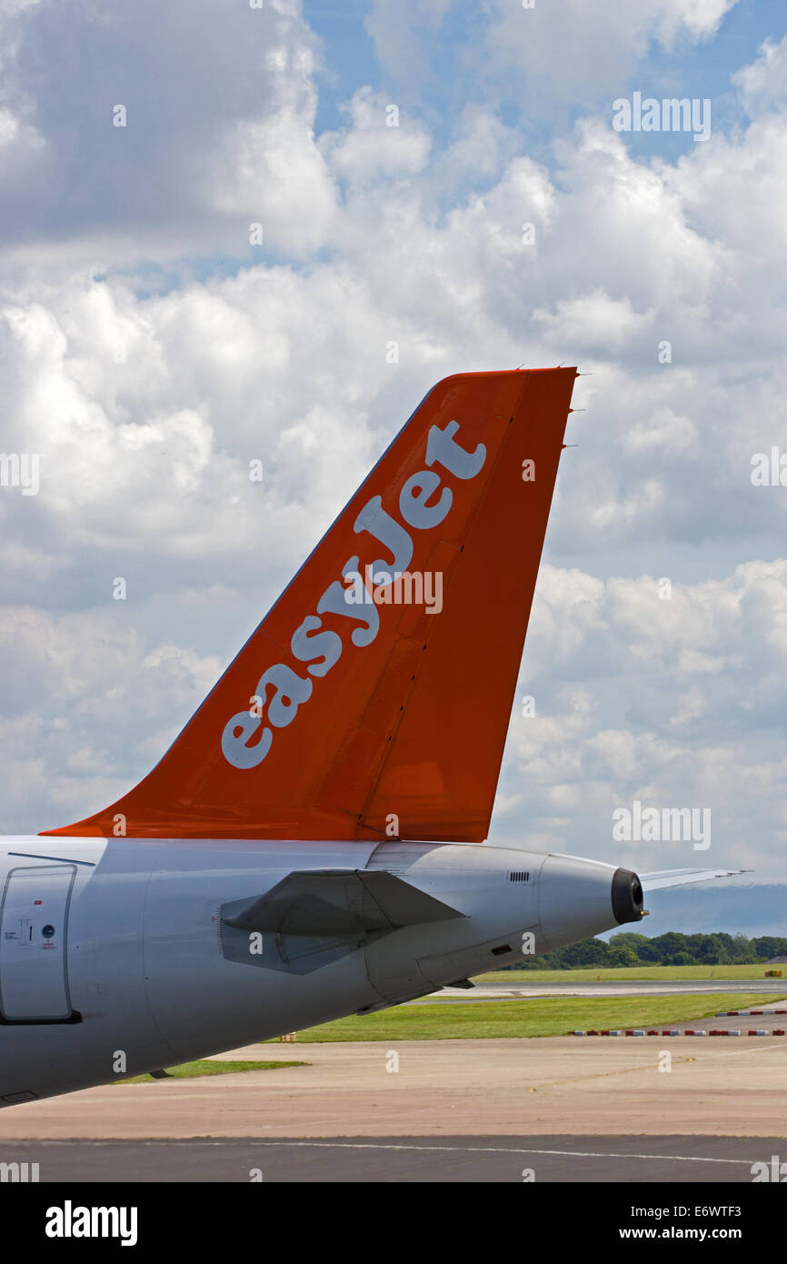 Tailplane of Easyjet Airbus A319-111 - Stock Image