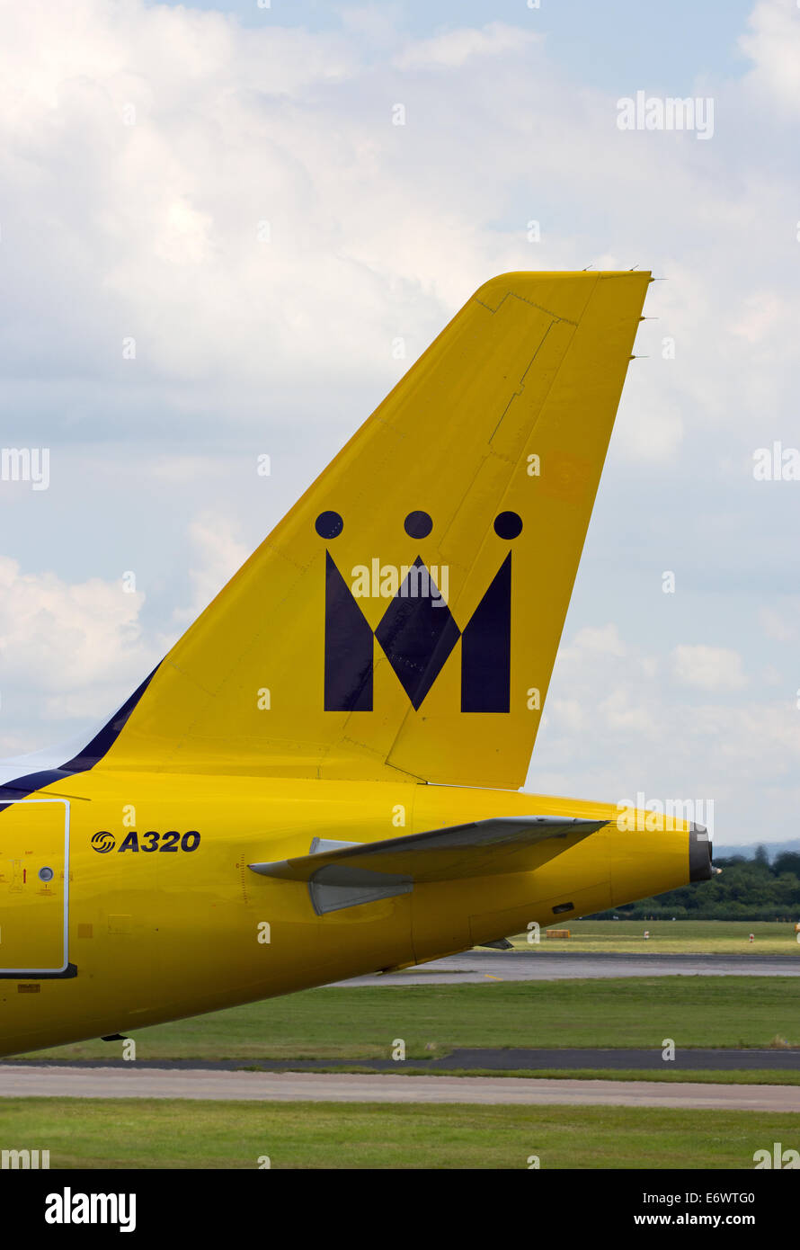 Tailplane of Monarch Airlines Airbus A320 - Stock Image