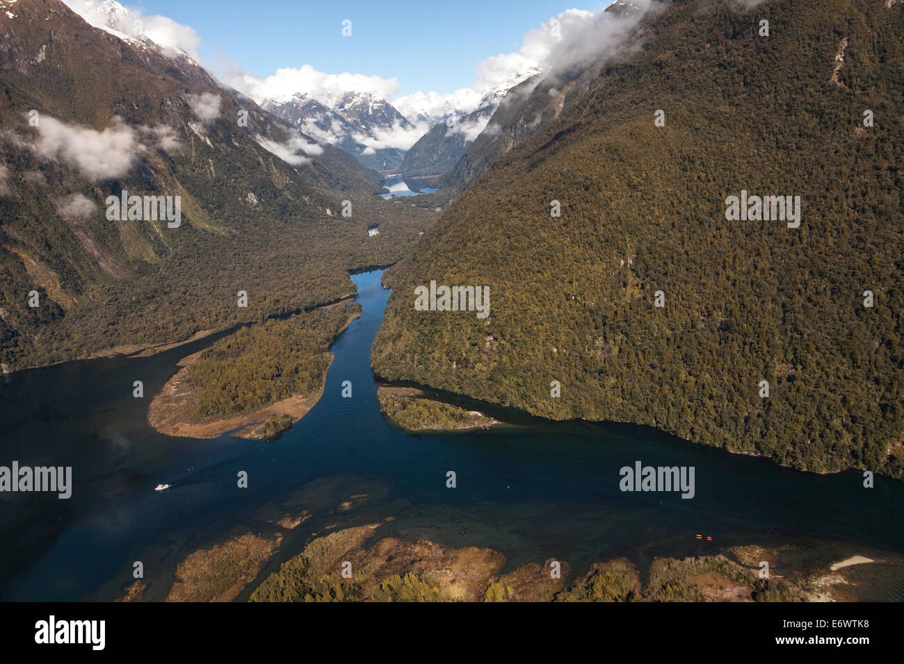 Aerial view of Milford Sound with Sandfly Point and Arthur River, Fiordland National Park, South Island, New Zealand - Stock Image