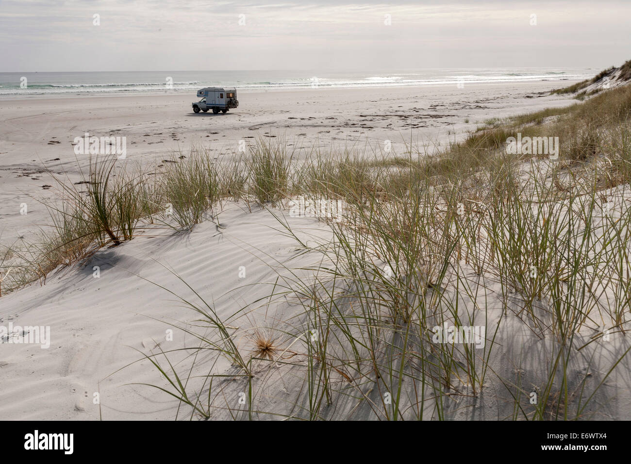 4WD camper parked on a remote beach, Northland, North Island, New Zealand - Stock Image