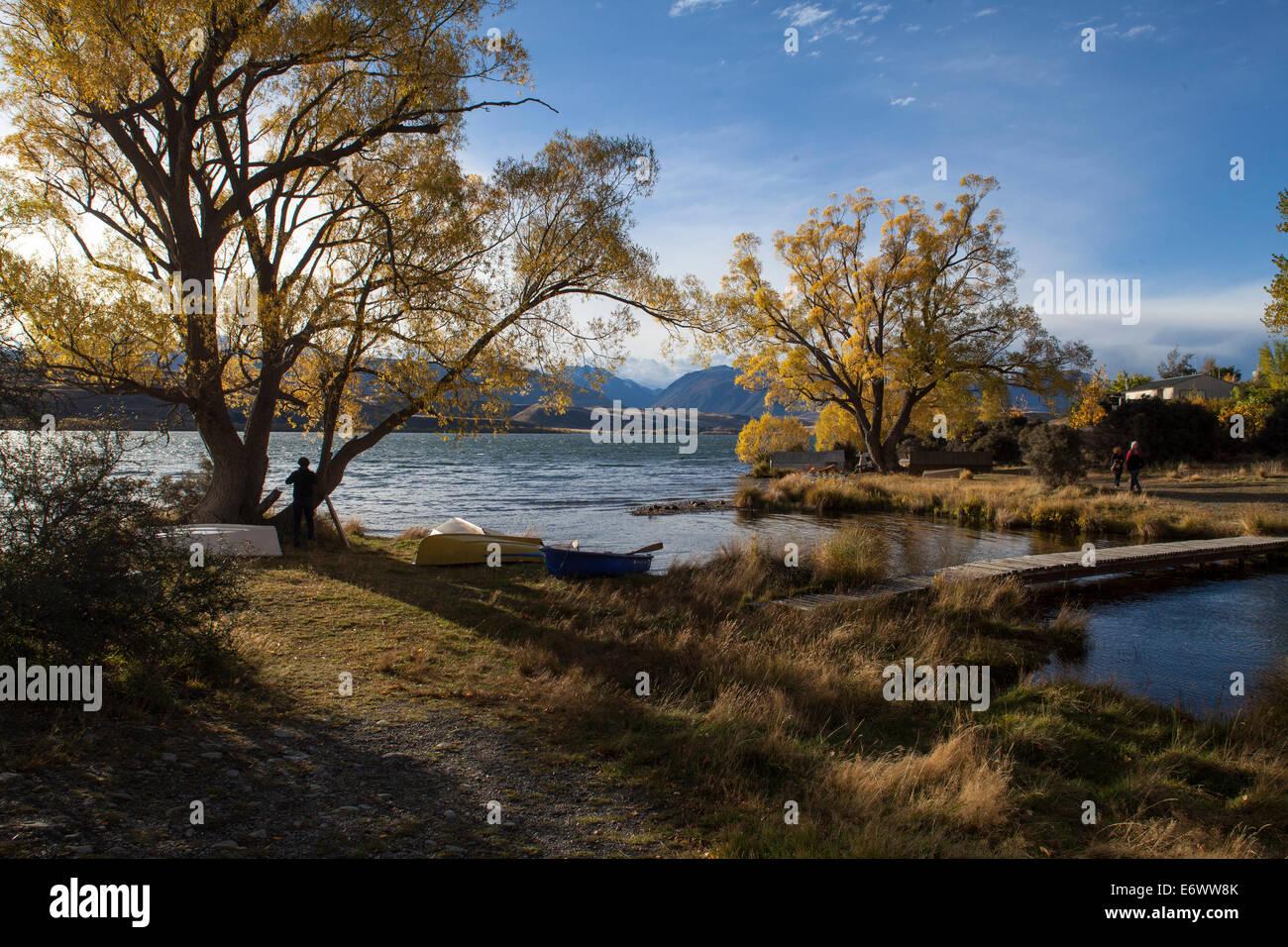 Autumn at Lake Alexandrina with rowing boats along the shore, Wildlife Refuge, Canterbury, South Island, New Zealand - Stock Image