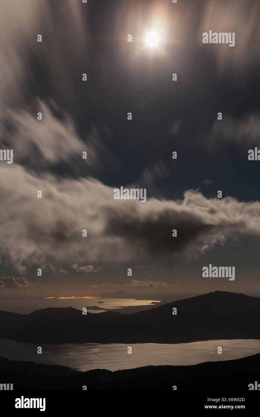 Moonlight over Lake Rotoaira, Tongariro Alpine Crossing, Tongariro National Park, North Island, New Zealand - Stock Image