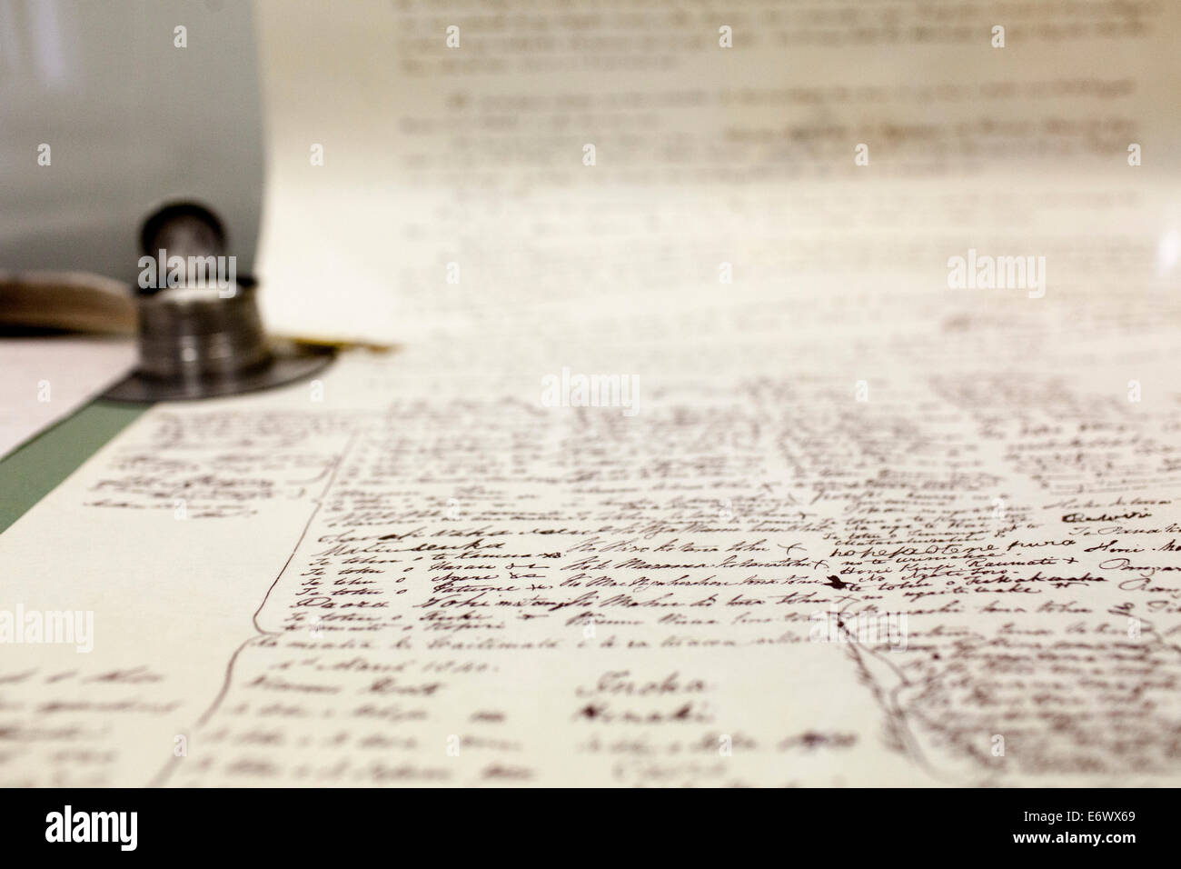 Controversial historical founding document, Treaty of Waitangi in the Museum near Paihia, North Island, New Zealand - Stock Image